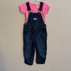 OshKosh B'Gosh overalls with t shirt size 2T
